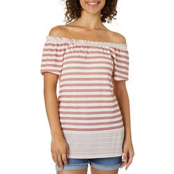 Como Vintage Womens Striped Off The Shoulder Top