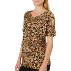 Como Vintage Womens Leopard Cutout Sleeve Top