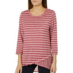 Como Vintage Womens Burnout Striped High-Low Top