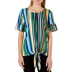 Como Vintage Womens Striped Ruffle Sleeve Tie Front Top