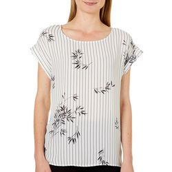 Como Vintage Womens Leaf Stripe Print Top
