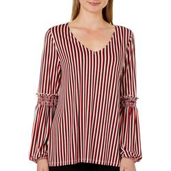 Como Vintage Womens Stripe Smocked Sleeve Top