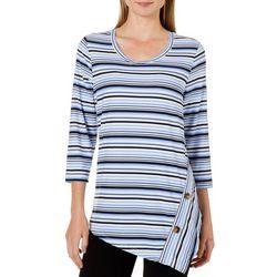 Como Vintage Womens Stripe Asymmetrical Hem Button Top