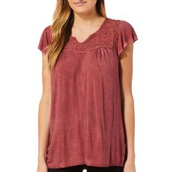 Como Vintage Womens Oil Washed Lace Detail Top