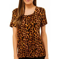Como Vintage Womens Leopart Print Short Sleeve Top