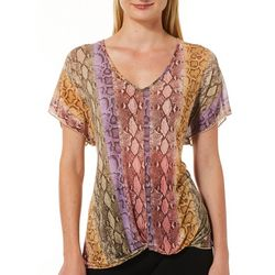 Coco's Clozet Womens Colorful Snakeskin Print Knot Front Top