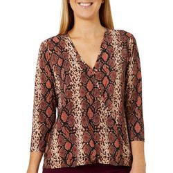 Coco's Clozet Womens Snakeskin Surplice V-Neck Top