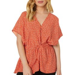 Coco's Clozet Womens Dot Print V-Neck Woven Top