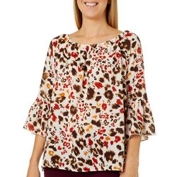 Coco's Clozet Womens Painted Leopard Bell Sleeve Top