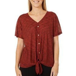 Coco's Clozet Womens Heathered Tie Front Deep V-Neck
