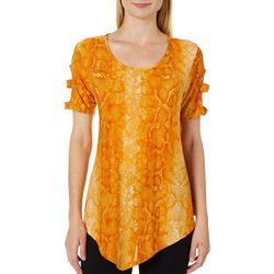Coco's Clozet Womens Snake Print Caged Sleeve Top
