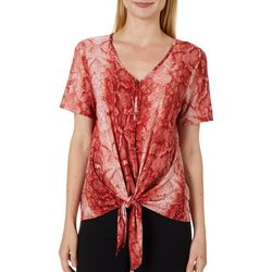 Coco's Clozet Womens Snake Print Tie Front Top