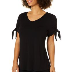Coco's Clozet Womens Solid Tie Sleeve Top