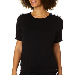 Coco's Clozet Womens Athletic Striped Short Sleeve Top