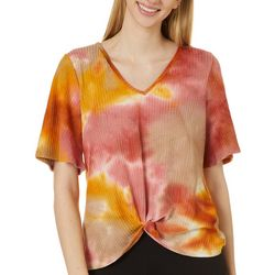 Coco's Clozet Womens Tie Dye Waffle Texture Short Sleeve Top