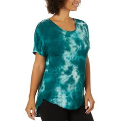 Coco's Clozet Womens Tie Dye Round Neck Short Sleeve Top