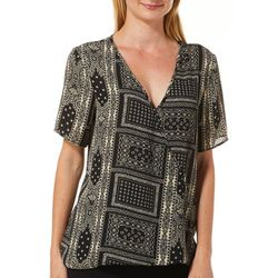 Coco's Clozet Womens Patchwork Print Surplice V-Neck Top