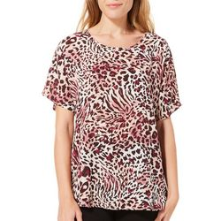 Coco's Clozet Womens Mixed Animal Print Short Sleeve Top