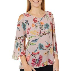 Coco's Clozet Womens Floral Cold Shoulder Round Neck Top