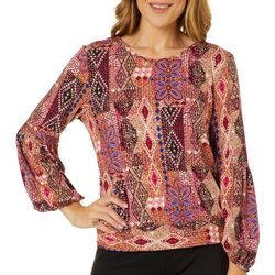 Coco's Clozet Womens Geometric Tie Back Long Sleeve Top