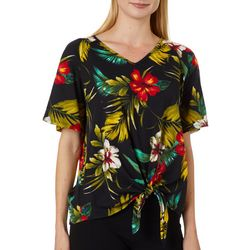 Coco's Clozet Womens Tropical Hibiscus Tie Front Top