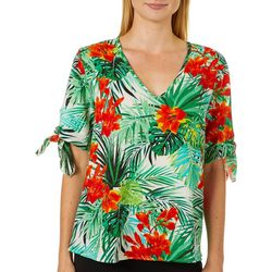 Coco's Clozet Womens Tropical Palm Tie Sleeve Top