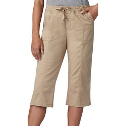 Lee Womens Flex-To-Go Solid Relaxed Fit Pull On Capris