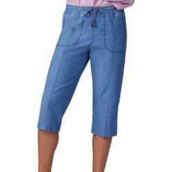 Lee Womens Chambray Drawstring Pull On Skimmer Shorts