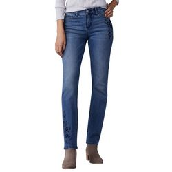 Lee Womens Embroidered Flex Motion Straight Leg Jeans