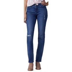 Lee Womens Distressed Flex Motion Straight Leg Jeans