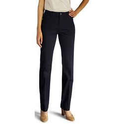Lee Womens Solid Flex Motion Straight Leg Pants