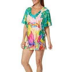 Art & Sol by Ellen Womens Tropical Toucan Swim Cover-Up