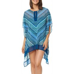 Ellen Tracy Womens Good Vibrations Caftan Swim Cover-Up