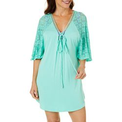 Wearabouts Womens Paradise Solid Tunic Swim Cover-Up
