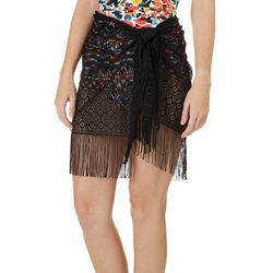 Wearabouts Womens Cochella Fringe Sarong Cover-Up