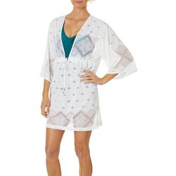 Wearabouts Womens Santorini Tile Crochet Tunic Swim Cover-Up