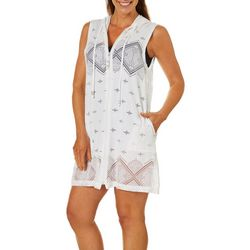Pacific Beach Womens Santornini Tile Hooded Swim Cover-Up