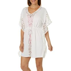 Wearabouts Womens Crochet Trim Caftan Swim Cover-Up