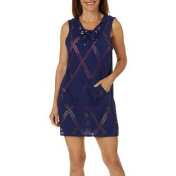 Wearabouts Womens X-Factor Lace Up Tunic Swim Cover-Up