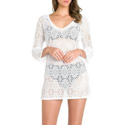 Caribbean Joe Womens Crochet V-Neck Tunic Swim Cover-Up