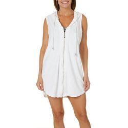 Cathy Daniels Womens Zip Front Sleeveless Swim Cover-Up