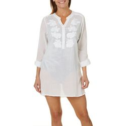 Cathy Daniels Womens Gauze Tunic Cover-Up