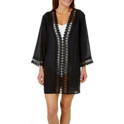 Cathy Daniels Womens Crochet Trim Swim Cover-Up