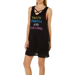 Miken Womens Tacos Tequila & Tan Lines Swim Cover-Up