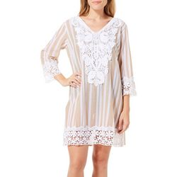 Meetu Magic Womens Striped Lace Trim Tunic Swim Cover-Up
