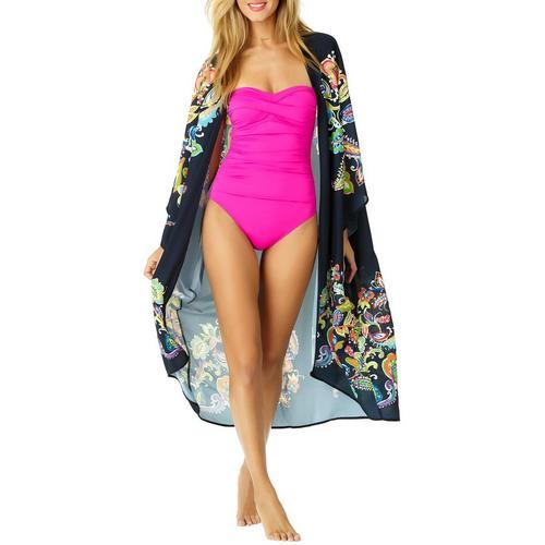 481421f473359 Anne Cole Signature Womens Paisley Pom Kimono Swim Cover-Up | Bealls Florida
