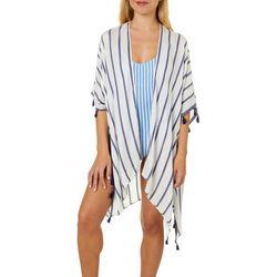 Angie Juniors Striped Pom Pom Kimono Swim Cover-Up