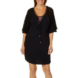 044b0c5f3d Wearabouts Womens Crochet Shoulder Solid Swim Cover-Up
