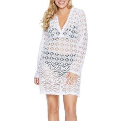 Wearabouts Womens Boho Mood Crochet Tunic Swim Cover-Up