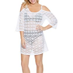 Wearabouts Womens Diamond Lace Cold Shoulder Cover-Up